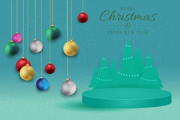 Banner de navidad para el presente producto con árbol de navidad sobre fondo verde. texto feliz navidad y próspero año nuevo.