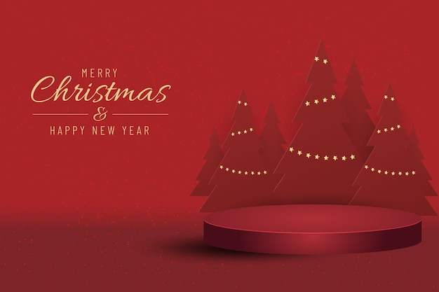 Banner de navidad para el producto actual con árbol de navidad sobre fondo rojo. texto feliz navidad y próspero año nuevo.