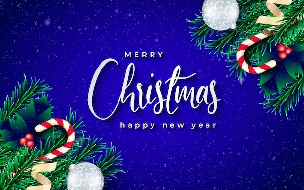 Banner de navidad realista con ramas y fondo azul