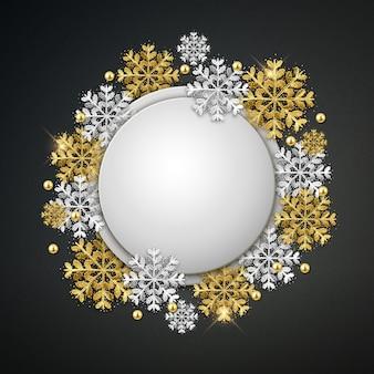 Banner de navidad redondo en blanco con copos de nieve