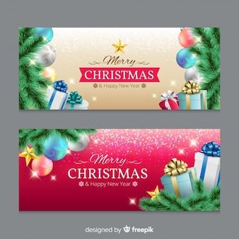 Banner navidad regalos realistas