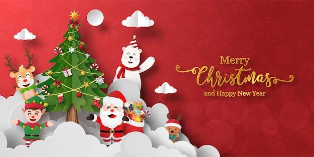 Banner de navidad de santa claus y amigos con árbol de navidad
