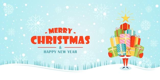 Banner de navidad. santa claus tiene cajas de regalo en sus manos.