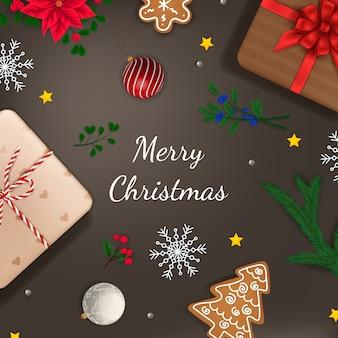 Banner de navidad tarjeta de navidad con rama y regalos