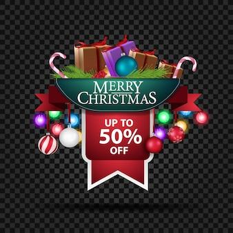 Banner navideño con 50% de descuento y regalos.