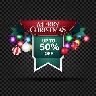 Banner navideño con adornos navideños y 50% de descuento.