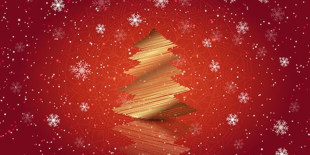 Banner navideño con diseño de árbol de garabatos dorado