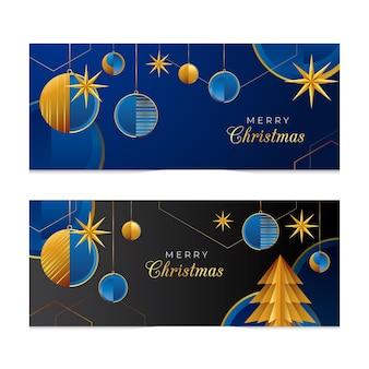 Banner navideño festivo azul y dorado