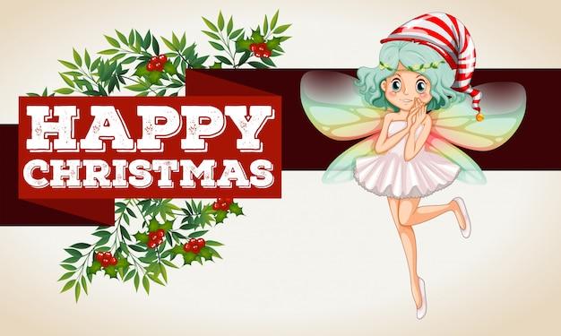 Banner navideño con hada volando