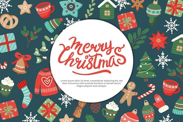 Banner navideño con letras y lindos elementos de temporada.