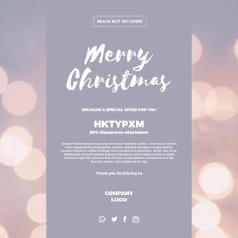 Banner navideño con oferta de descuento.