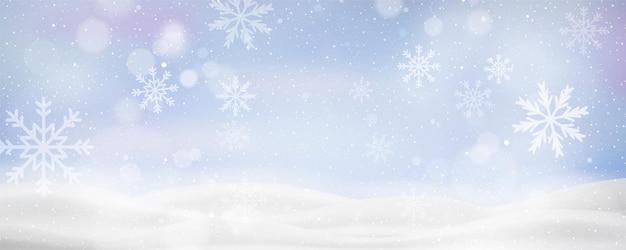 Banner navideño con paisaje invernal