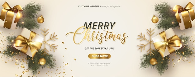 Banner navideño realista con decoración blanca y dorada.