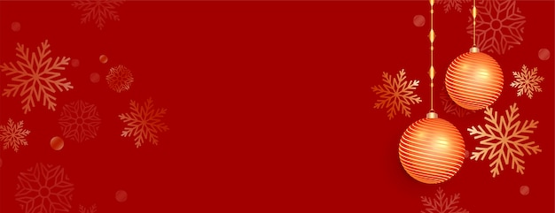 Banner navideño rojo con adornos y decoración de copo de nieve