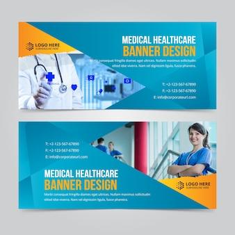 Banner de negocio horizontal web conjunto de vectores plantillas