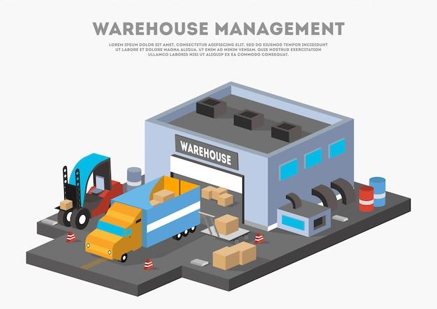 Banner de negocio isométrico de gestión de almacén