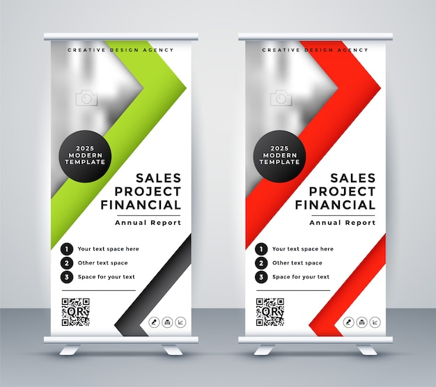 Banner de negocio de rollup en diseño geométrico rojo y verde