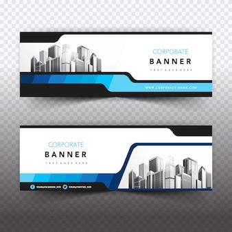 Banner de negocios azul y blanco