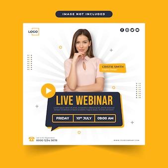 Banner de negocios de conferencias webinar en vivo