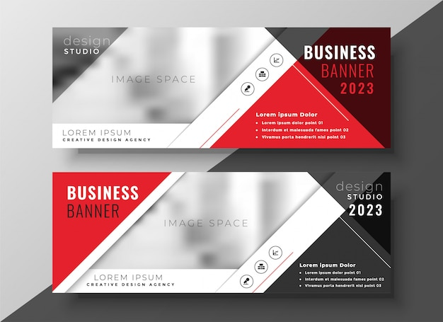 Banner de negocios corporativos en estilo geométrico rojo