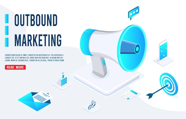 Banner de negocios de marketing saliente en diseño isométrico.