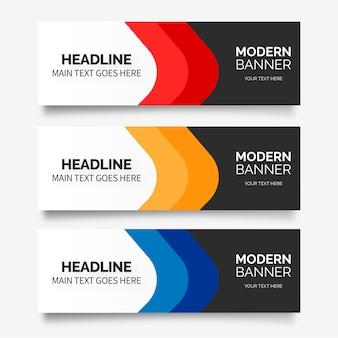 Banner de negocios moderno con formas coloridas