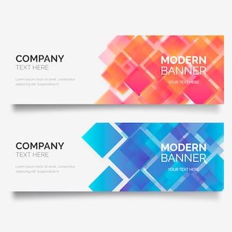 Banner de negocios moderno con formas geométricas