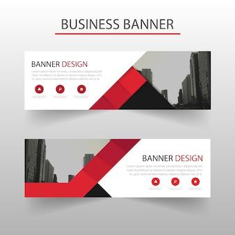 Banner de negocios poligonal con formas rojas
