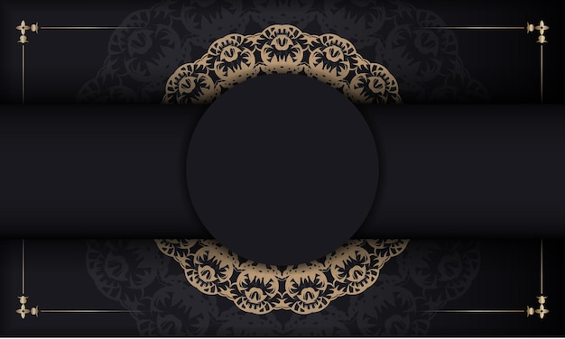 Banner negro con adorno marrón vintage y lugar para el texto