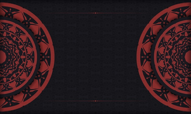 Banner negro con adornos y lugar para su texto y logotipo. diseño de fondo con patrones vintage.