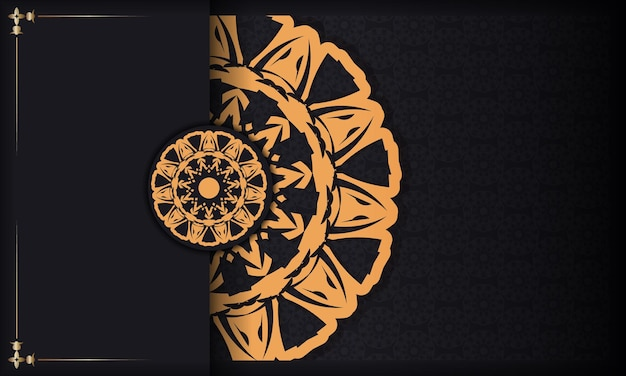 Banner negro con adornos y lugar para el texto. fondo de diseño listo para imprimir con patrones de lujo.