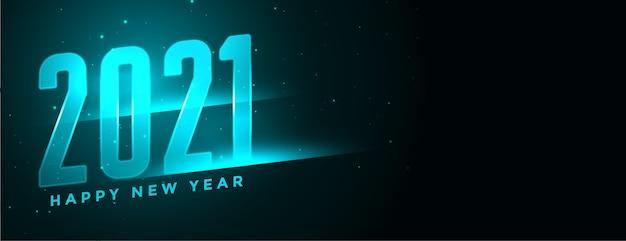 Banner de neón azul de año nuevo 2021 con espacio de texto