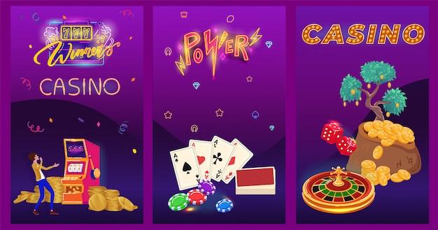 Banner de neón del casino, juego de cartas de juego, personaje de dibujos animados ganador del premio mayor de personas, ilustración