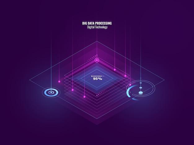 Banner de neón isométrico de tecnología digital, procesamiento de datos grandes, sala de servidores, futuro de la tecnología