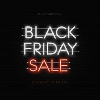 Banner de neón de venta de viernes negro
