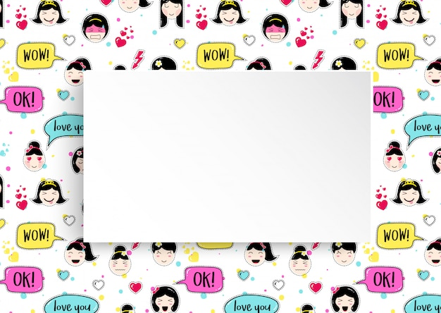 Banner de niña con patrón de emoji de anime. lindas pegatinas con emoticonos y papel 3d. banner de niña infantil con caras asiáticas kawaii.