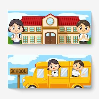 Banner de niño y niña tailandeses con uniforme de estudiante y mochila escolar