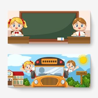 Banner de niño y niña con uniforme de estudiante en el aula y sentado en el autobús escolar