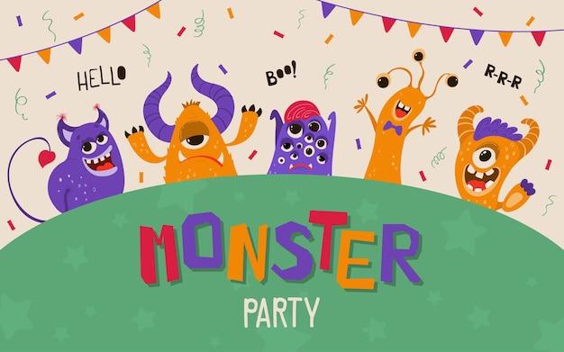 Banner de niños lindos con monstruos en estilo de dibujos animados