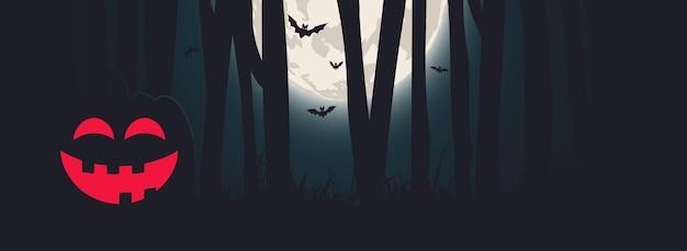 Banner de la noche de halloween con luna llena, calabaza y bosque. diseño vectorial