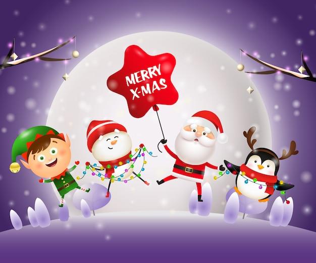 Banner de noche de navidad con animales, santa en tierra violeta