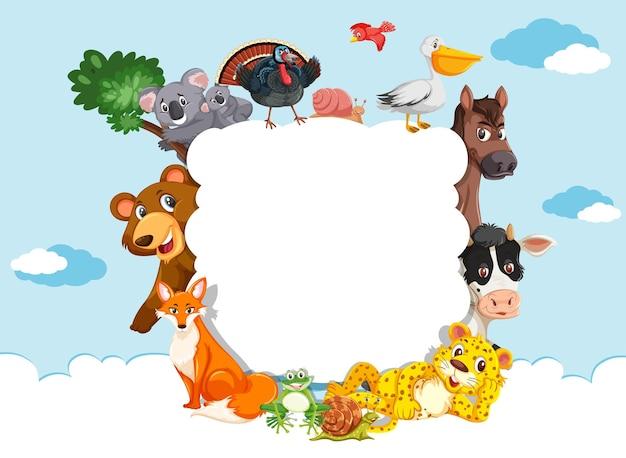 Banner de nube vacía con varios animales salvajes
