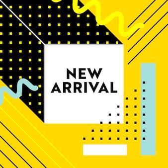 Banner de nueva llegada para publicidad de marketing en redes sociales digitales