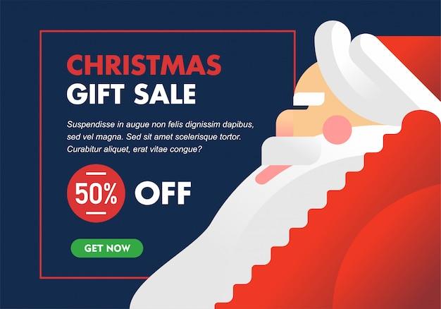 Banner o folleto minimalista moderno de la venta de navidad con la gran ilustración de santa