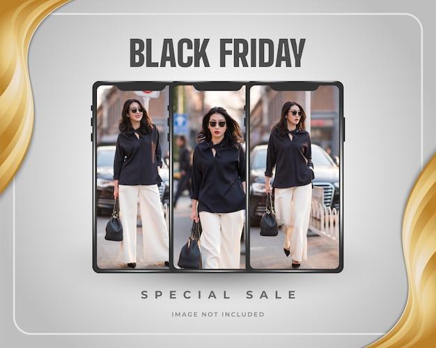 Banner o póster de promoción de venta de black friday con smartphone y marco dorado