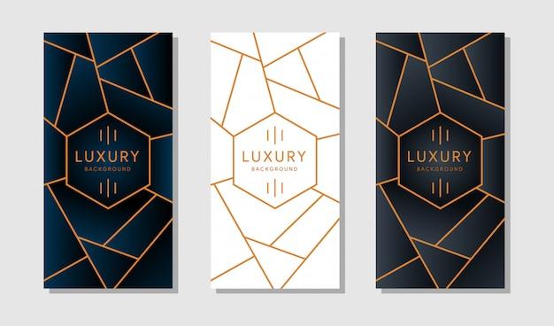 Banner o tarjeta con modernos bordes geométricos dorados sobre un fondo blanco.