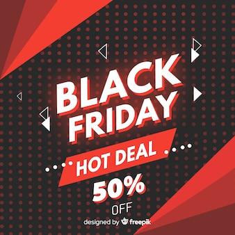 Banner de oferta caliente de viernes negro de diseño plano