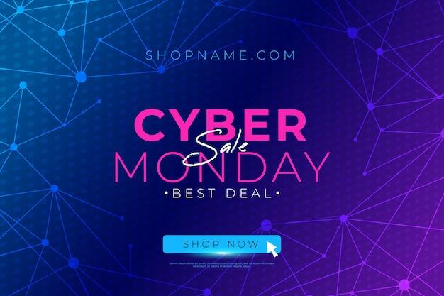 Banner de oferta de cyber monday de diseño plano