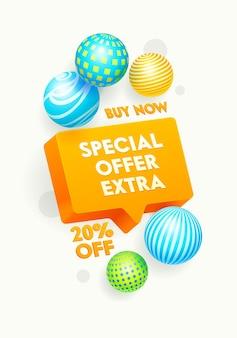 Banner de oferta especial adicional con descuento y esferas