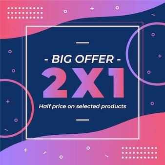 Banner de oferta especial de compras en estilo memphis